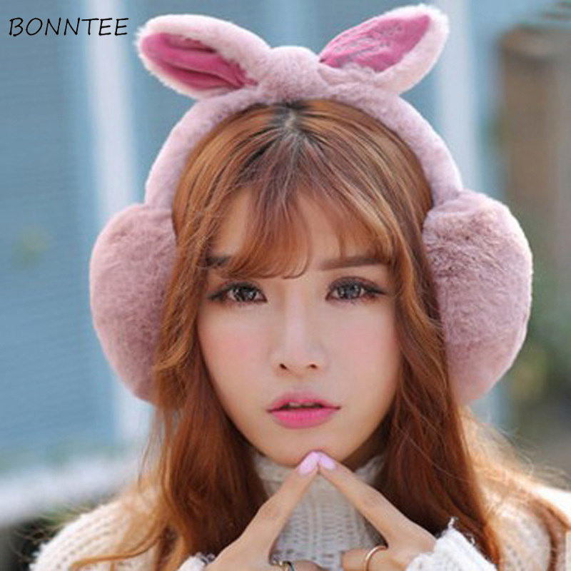 Earmuffs Women Rabbit Ears Harajuku Kawaii Faux Fur Warm Soft Winter Solid Womens Earmuff Korean Style Simple Leisure Sweet Chic