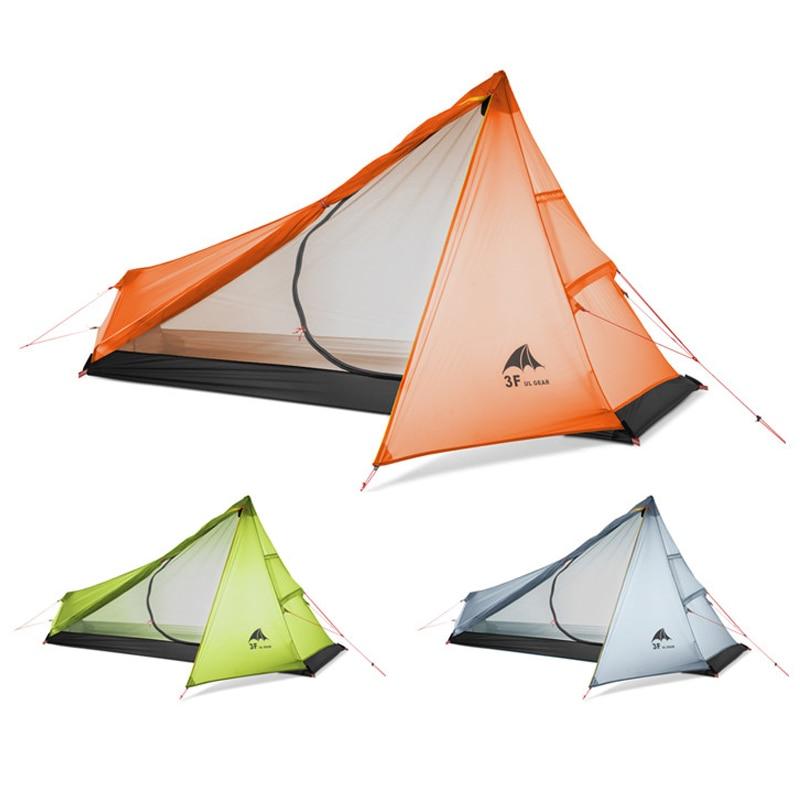 3F UL VITESSE Oudoor Ultra-Léger tente de camping 3 Saison une personne Professionnel 15D Nylon Revêtement De Silicium Sans Tige Tente