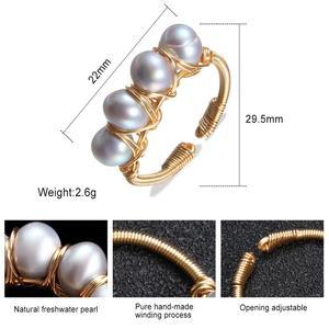 Image 5 - Anillos de perlas naturales barroco de Anillo de perlas de agua dulce para mujer, anillos de oro de perlas hechas a mano, Buen Regalo De niña, anillo de apertura de perlas de 6 7mm