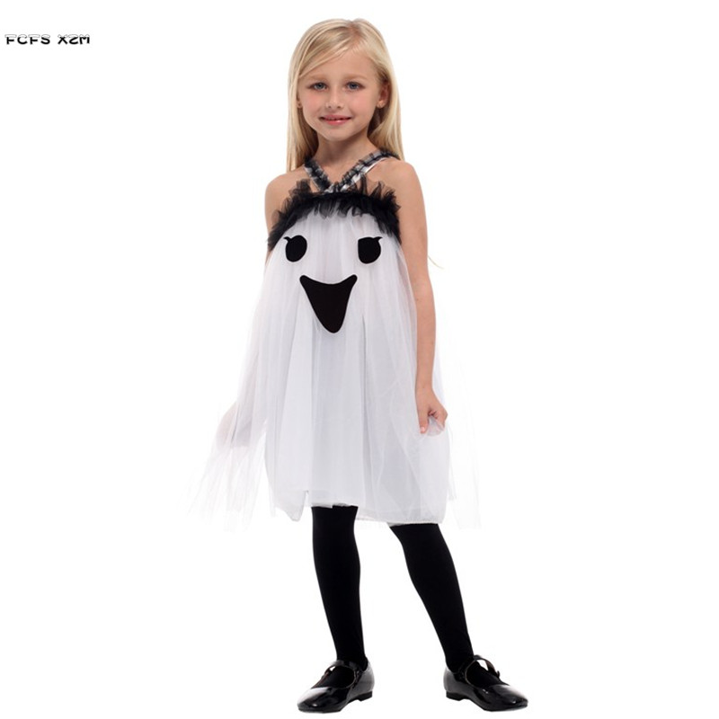 US $17 15 34% OFF|M XL Girls Hell Devil Fiend Cosplays Kids Children  Halloween Ghost Scary Costume Carnivl Purim stage play Masquerade party  dress-in