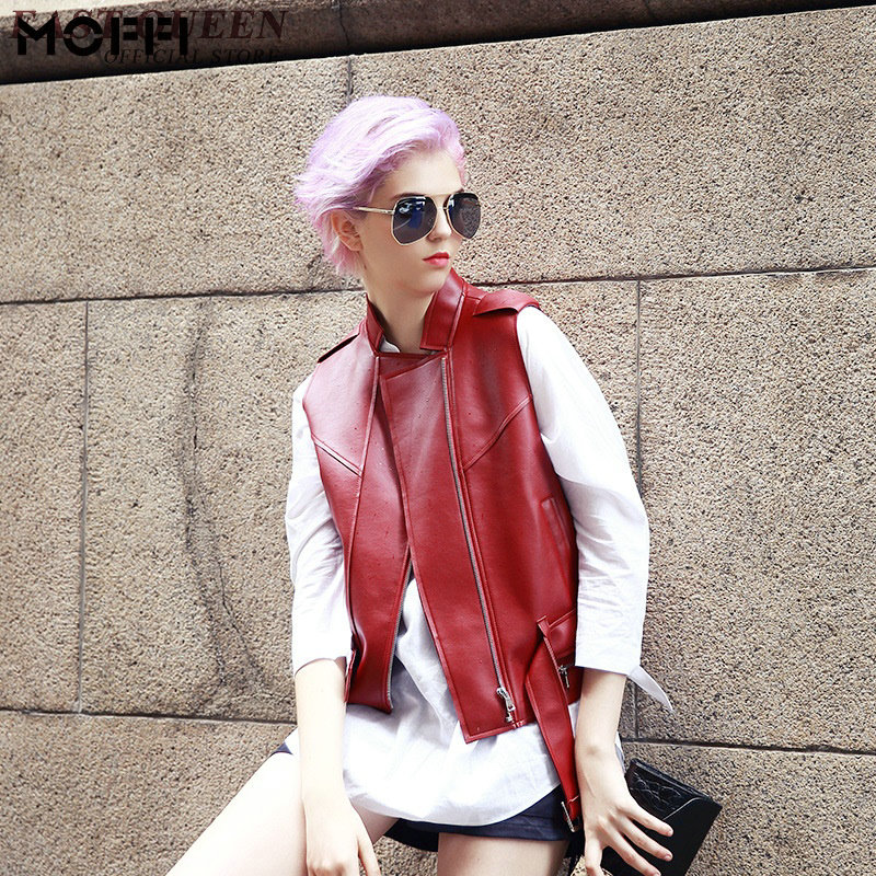 Woman vest 2016 sexy red leather jacket women 2016 new arrival vest female fashion red womens leather vest AA540