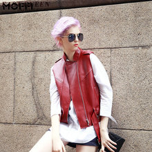 Woman vest 2016 sexy red leather jacket women 2016 new arrival vest female fashion red womens