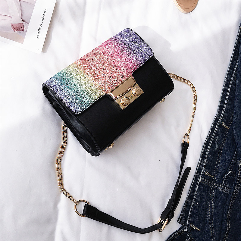Gradient Rainbow Shiny Women Handbag Paillette Bling Bling Female Glitter  Sequined Messenger Bag Popular Party Lady Leather Flap-in Shoulder Bags  from ... 92ca74900d39