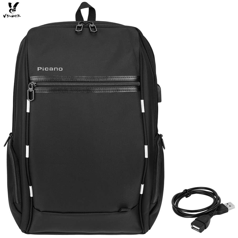 Vbiger Men s Laptop Backpack Multi functional School Daypack with USB Charging Port and Reflective Strip