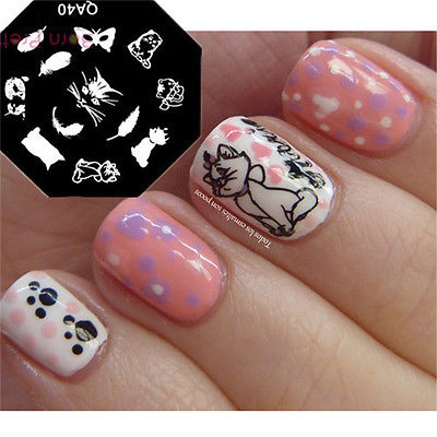 1pc Cute Cat Feather Design Nail Art Stamp Template Image Stamping