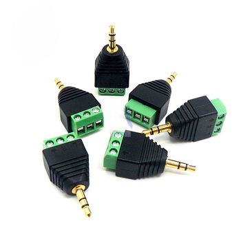 4pcs Jack 3.5mm Stereo Plug Connector Male Back-end Screw Wiring 3.5 Jack Audio Headphone Plug Free Solder Joint Three Sections