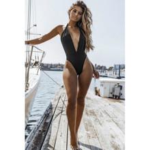 2018 New Thong One Piece Swimsuit Swimwear Women Solid Monokini Bodysuit Women Piece Backless Swimsuit Maillot De Bain Femme
