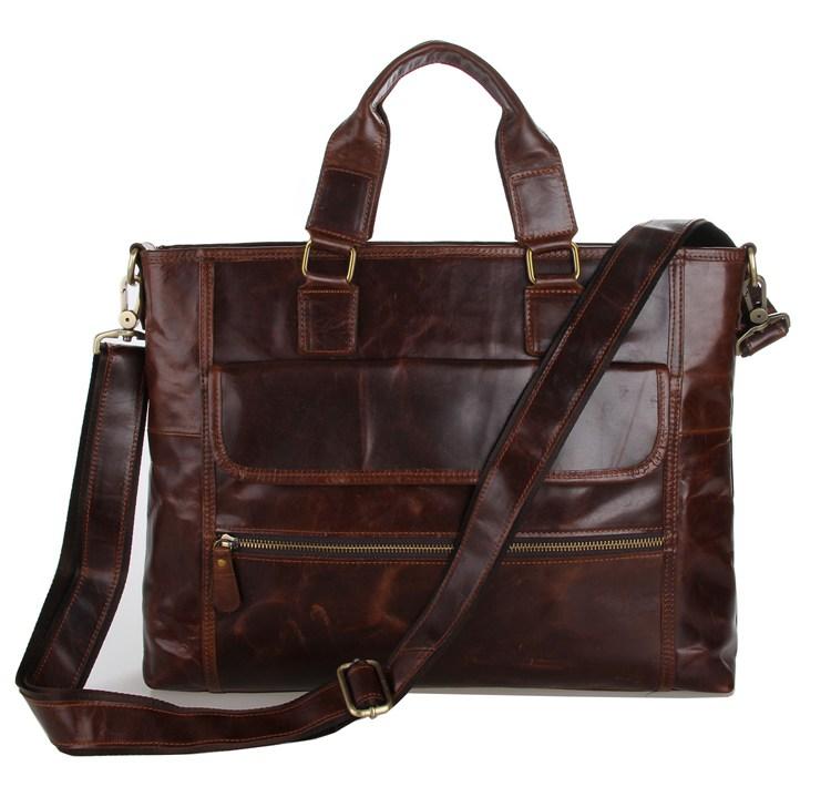 Nesitu Vintage Coffee Genuine Leather Men Briefcase Messenger Bags Male Portfolio 14'' Laptop Business Mens Office Bag M7212