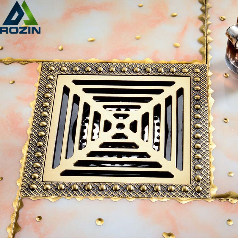 Brass Antique 15 * 15cm Square Anti-odor Bathroom Floor Drain Large Flow Shower Grate Channel Waste Drain Square Water Drainer high quality gold solid brass 4 inch 100 100mm square deodorant bath floor drain shower waste water drainer