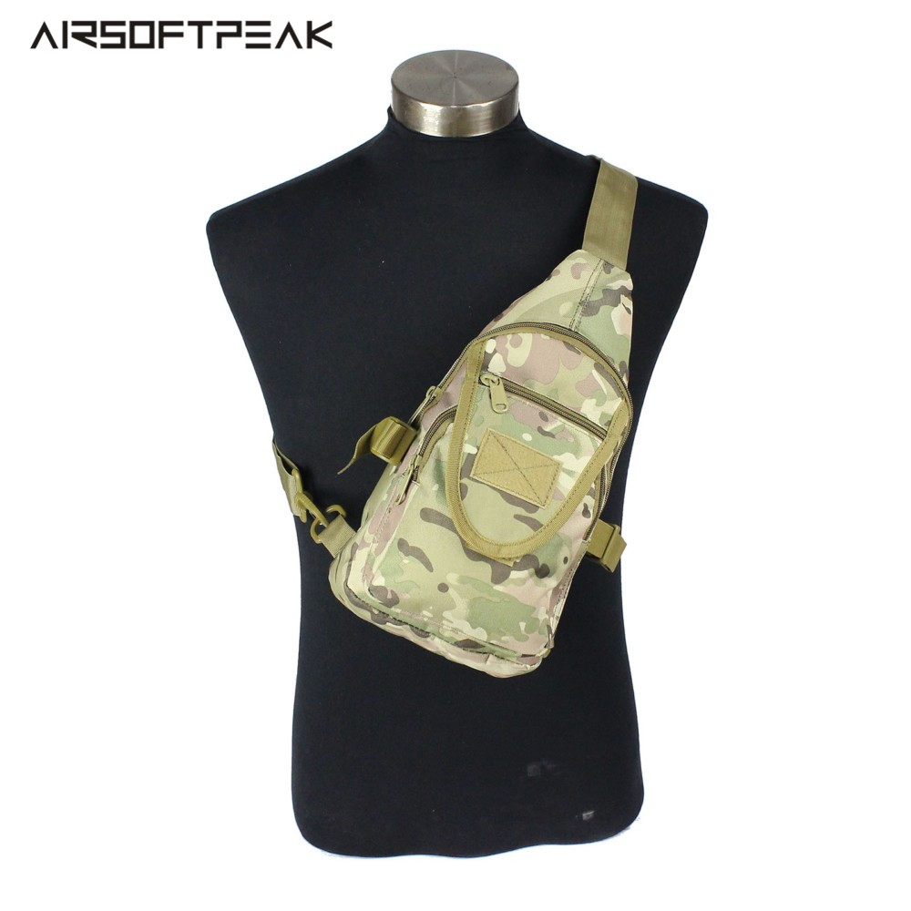 Outdoor Sport Tactical 600D Nylon Hunting Chest Bags Men Women Camouflage Military Single Shoulder Bag Army Combat Camping Pack 1000d nylon molle tactical hunting bags outdoor sport single shoulder bag men outdoor sport camping hiking hunting waist bags