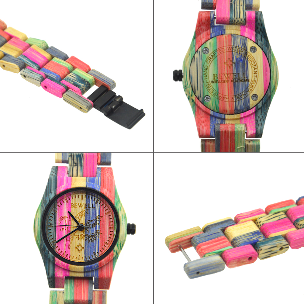 Image 4 - BEWELL 105DL Nature Handmade Colorful Bamboo Wood Watch Women Analog Quartz Fashion WristWatch with Mix Colors Free Shippingwristwatch womenwristwatch quartz watchwristwatch wood -