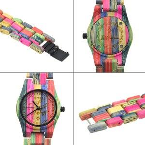 Image 4 - BEWELL 105DL טבע בעבודת יד צבעוני במבוק עץ שעון נשים אנלוגי קוורץ אופנה שעוני יד עם צבעים לערבב משלוח חינם