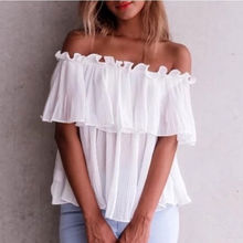UK Women Ladies Sexy Slash Neck Off Shoulder Casual Frill T-shirt Tops Ruffles Solid Short Sleeve Summer Hot Loose T Shirt