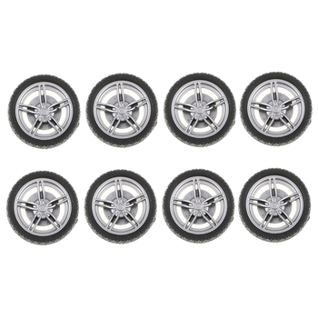 30mm 5-Spoke Plastic Wheel Rims with Soft Rubber Tires for RC Racing Car, Pack of 10 image