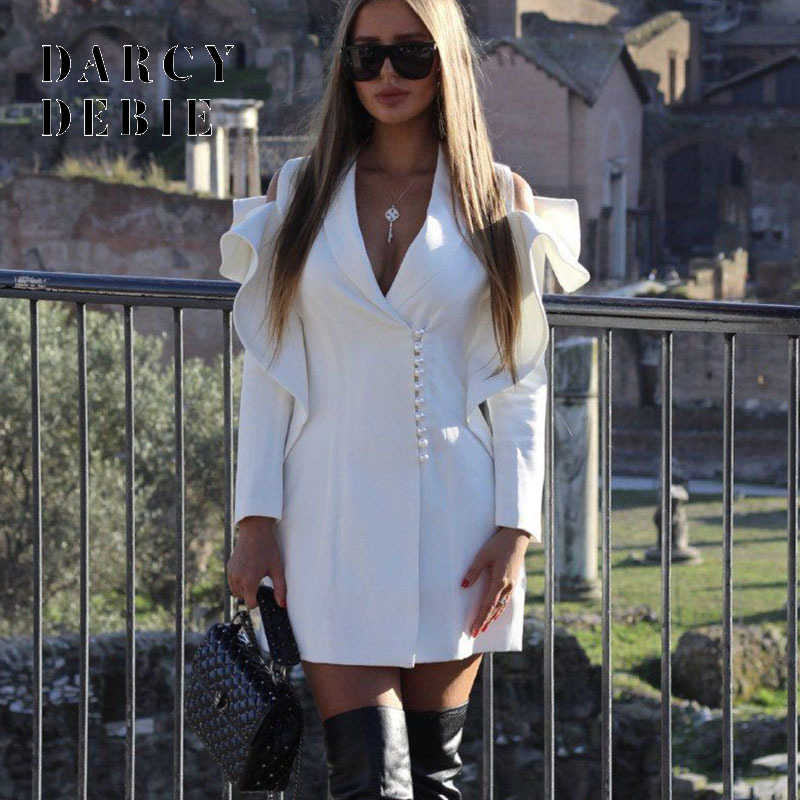 2019 White Autumn Sexy Elegant Ruffles V Neck Short Blazer Dress Women Long Sleeve Pearls Buttons Party Mini Dresses vestidos
