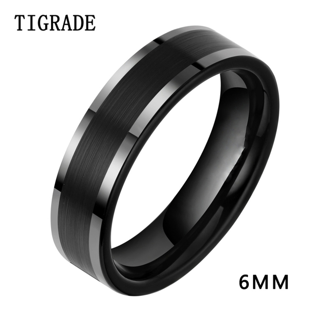 44bf732dd14 Brand 6mm Black Titanium Ring Men Wedding Band Silver Edges Engagement Rings  For Women Fashion Female Finger Jewelry Comfort Fit