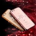 Moda luxo rhinestone caso do silicone para o iphone 6 6 s capa bling fundas coque de diamante macio tpu tampa traseira para o iphone 6 6 s Capa