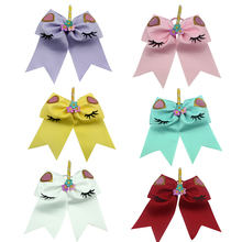 Adogirl 6 PCS 6-7 Cute Flower Unicorn Party Hair Bows Elastic Scrunchies for School Girls Cheap Handmade Accessories