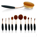 10 PCS  Rose Golden Set Tooth Brush Shape Oval Makeup Brush Set MULTIPURPOSE Professional Foundation Powder Kits with BOX