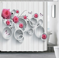 Fyjafon Thick 3D Bathroom Shower Curtain Polyester Fabric Waterproof Moldproof Flower Bath Curtain 180*180/180*200/200*180