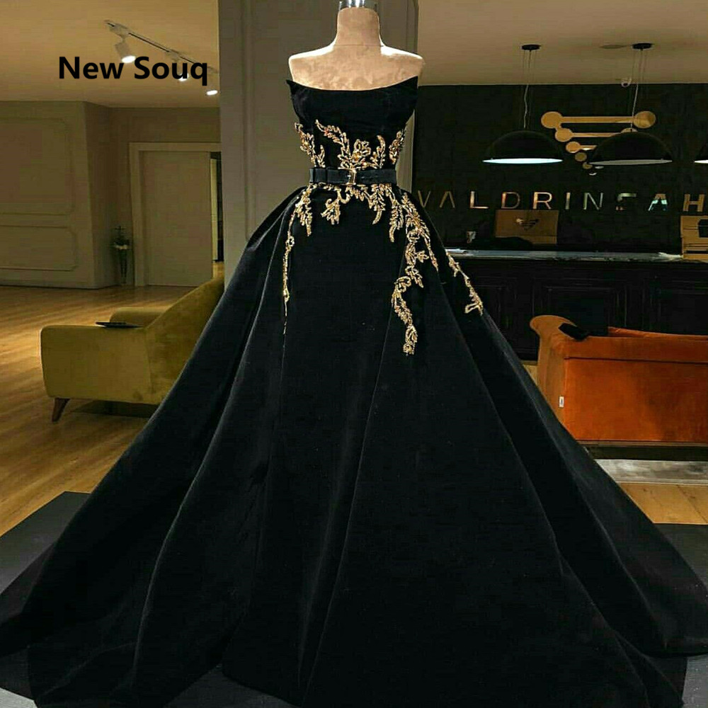 Elegant Black Satin Evening Dresses Strapless Backless Appliqued Dubai Muslim Evening Gowns With Detachable Skirt