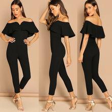 Summer Women Jumpsuit Off Shoulder Ruffle Slim Solid Romper Clubwear Trousers Plus Size solid ruffle cami jumpsuit