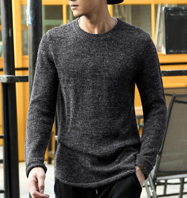 Outono inverno O-pescoço suéter de cashmere homens marca dos homens blusas de malha pulôver dos homens casuais quente Camisola Do Natal roupas 2016