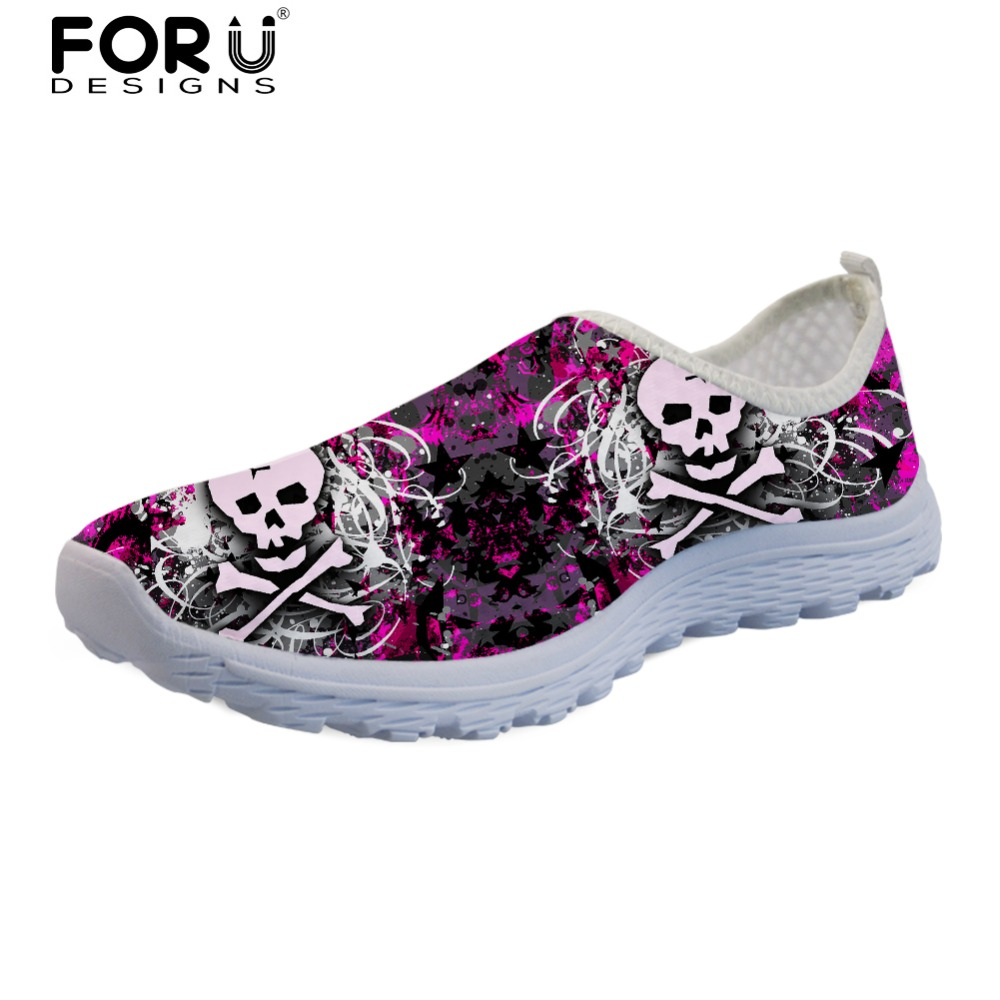 FORUDESIGNS Fashion Skull Brand Designer Flats Shoes for Women Casual Summer Mesh Sneakers Ladies Breathable Walking Shoes Woman summer sneakers fashion shoes woman flats casual mesh flat shoes designer female loafers shoes for women zapatillas mujer