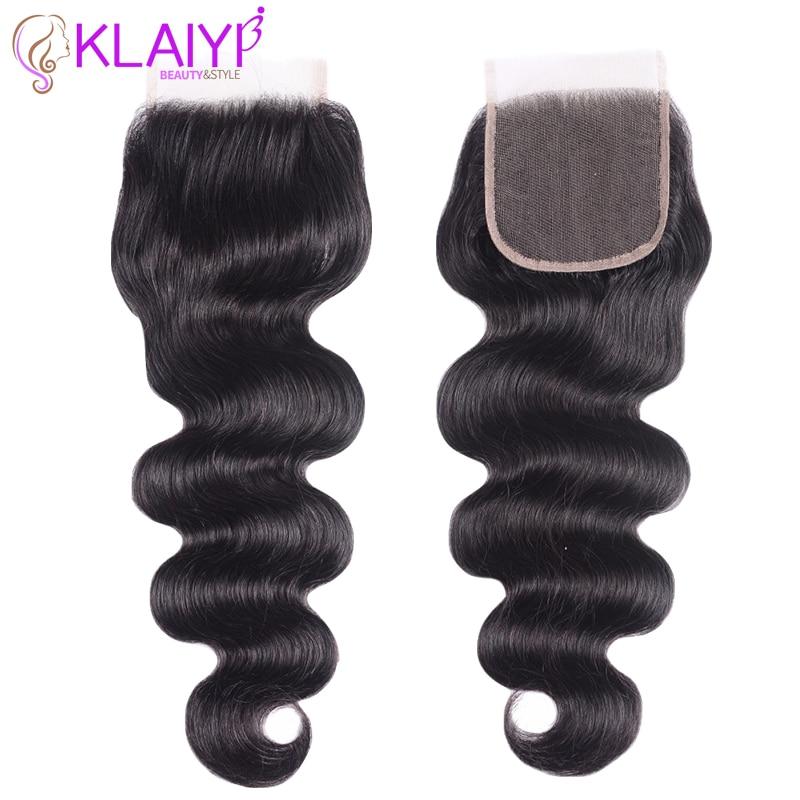 KLAIYI Hair Brazilian Body Wave With Closure 4 PCS Remy Hair Weave Bundles With Closure 100% Human Hair 3 Bundles With Closure
