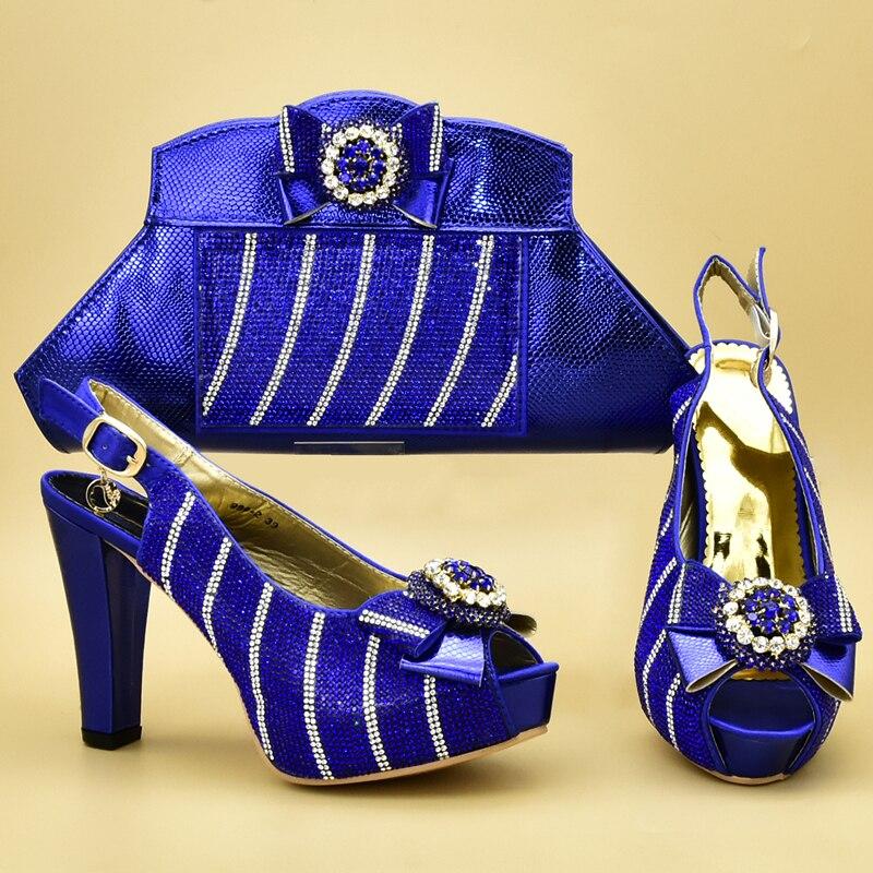 Chaussures Bleu Strass Sacs fuchsia Ensemble Italiennes Décoré Mariage or Dames Escarpins Avec Nouvelle pourpre Et Nigérian De Soirée Femmes Mode EaCqEwvS
