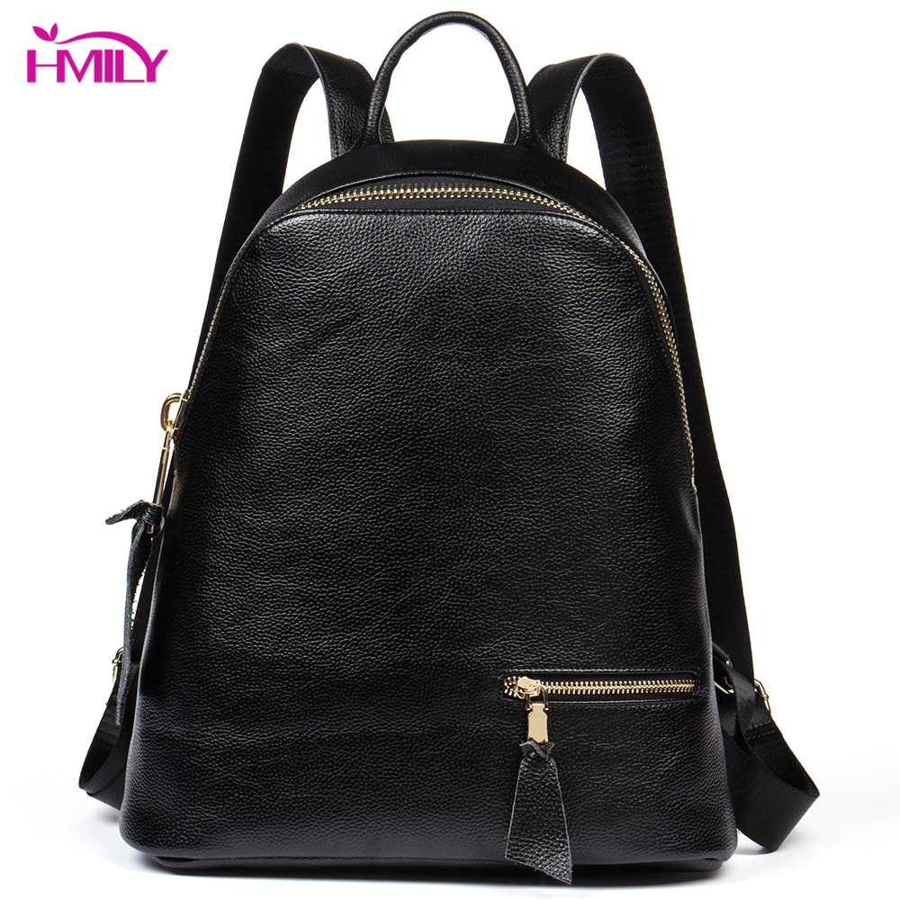 HMILY Genuine Leather Women Backpack Trendy Casual Female Travel Bag Korea Style Student School Bag Real Leather Shoulder Bag