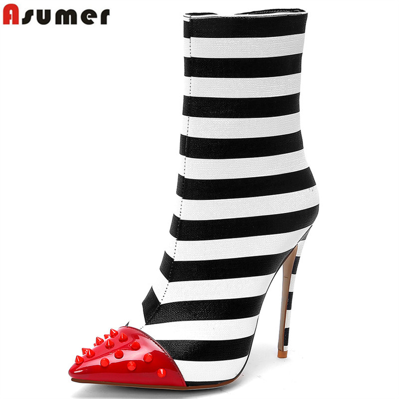 ASUMER 2018 fashion sexy high heels boots rivets pointed toe ankle boots for women autumn winter boots party wedding shoes цены онлайн