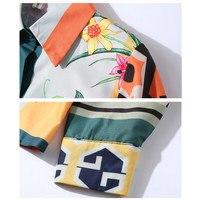 Camisa estampado multicolor floral geométricos elegante 4