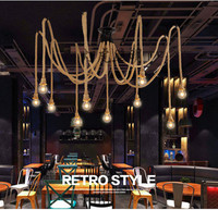 Creative hemp rope lamp spider light American country retro pendant light cafe restaurant bar clothing store split of droplight