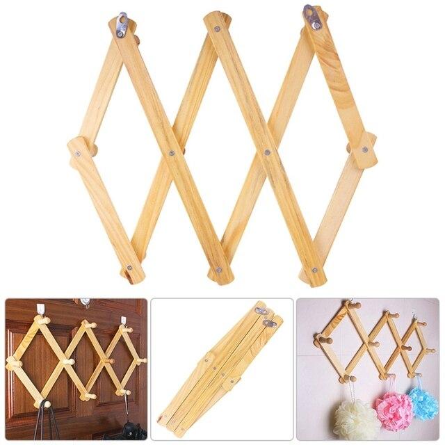 10 Head Wooden Expanding Clothes Hanger Expandable Coat Rack Closet Wall Hook