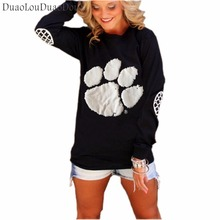New Fashion Spring New Bear Paw Print Women's T Shirt Long sleeves Europe and America Style Casual for Women Fashion Tops