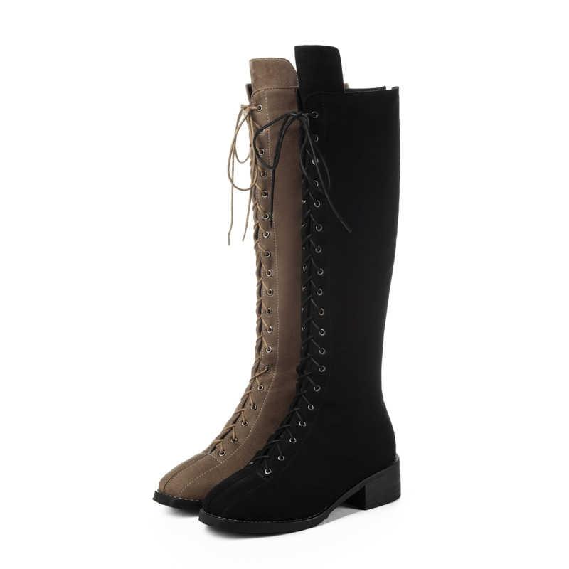 2018 moda akın med topuklar lace up diz yüksek çizmeler büyük boy kare topuk kış ayakkabı sıcak katı kadınlar uyluk yüksek çizmeler L58
