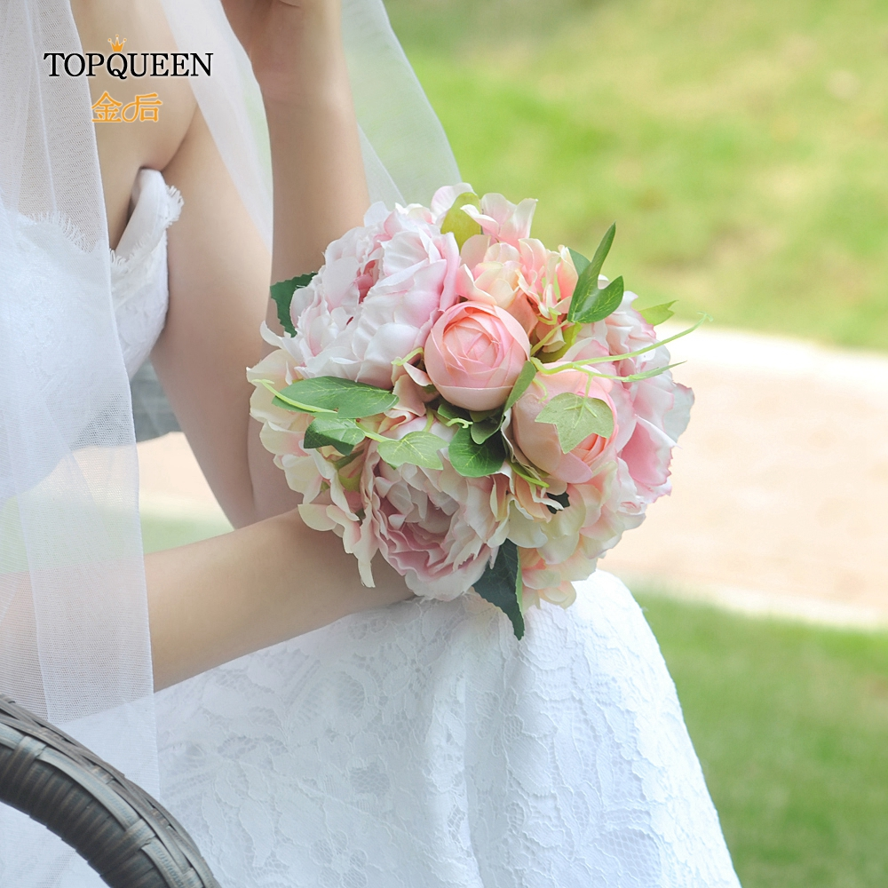 TOPQUEEN F15 Free Shipping Wedding Flowers Bridal Bouquets Bridesmaid Bouquet Pink Rose Artificial Flower Bouquets