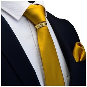 Image 5 - GUSLESON Yeni Tasarımcı Katı Düz Erkek Kravat Cep Kare Kravat Toka Seti Kırmızı Sarı Yeşil ipek kravatlar Takım Elbise Düğün Iş
