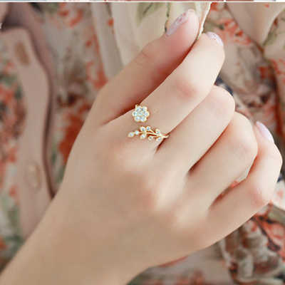 Hot Fashion Adjustable Rings Gold Color&Silver Plated Wishful Flower Leaves and Branches Finger Rings For Women Jewelry Wedding