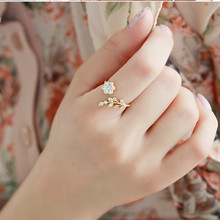 Hot Fashion Adjustable Rings Gold Color&Silver Plated Wishful Flower Leaves and Branches Finger Rings For Women Jewelry Wedding(China)