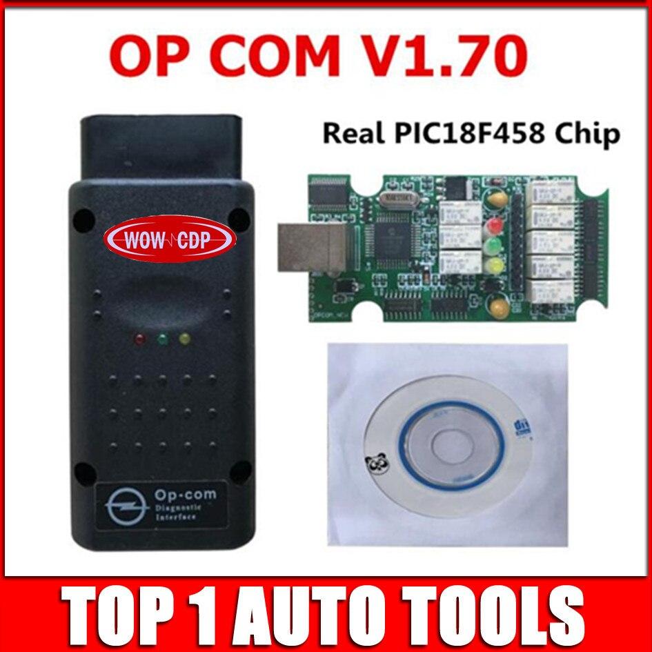 Prix pour 2017 Date OPCOM V1.70 firmware A + + qualité OP-COM Pour Opel de diagnostic-outil OP COM avec réel pic18f458 Puce peut être flash mise à jour