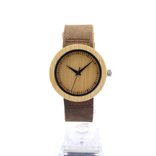 BOBO BIRD A08 Women Full Bamboo Watches Natural Fashion and Casual Wooden Watch with Leather Band Leather Band for Women as Gift