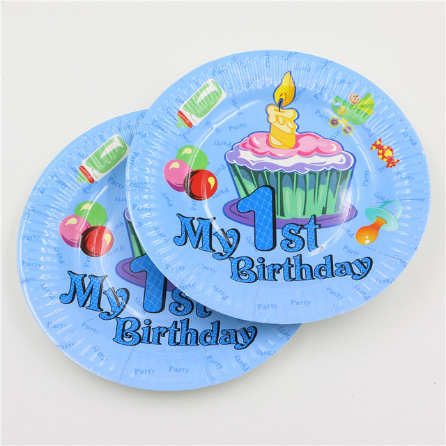 New Design 1st Birthday Party 7inch Paper Plate For Baby Boy 1 Year Old Partys Best Disposable Decoration 12pcs Bag