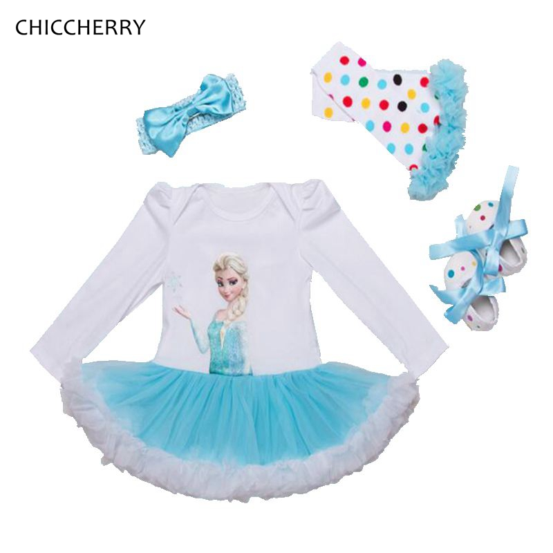 White Elsa Lace Romper Dress 4pcs Chiffon Baby Girl Dress  Headband & Shoes Set Vestido De Bebe Birthday Party Tutu Outfits 3d love baby girl valentine day clothes heart toddler lace romper dress bow headband set vestido bebe wedding party outfits