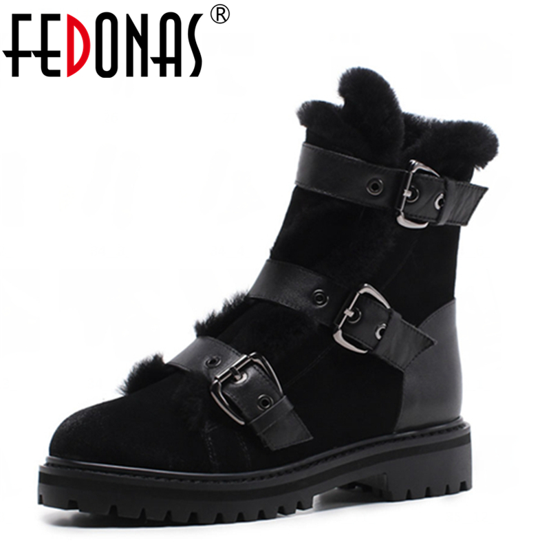 FEDONAS  Top Quality Winter Ankle Boots Women Platform High Heels Genuine Leather Shoes Woman Warm Plush Snow Motorcycle Boots yin qi shi man winter outdoor shoes hiking camping trip high top hiking boots cow leather durable female plush warm outdoor boot