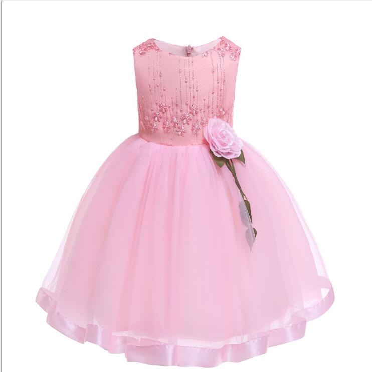 Girl Prom Dress 2019 Girls Summer Fashion Flower Lace Tulle Party Tutu Sundress Dresses For Girl Kid's Costume 3-11Y