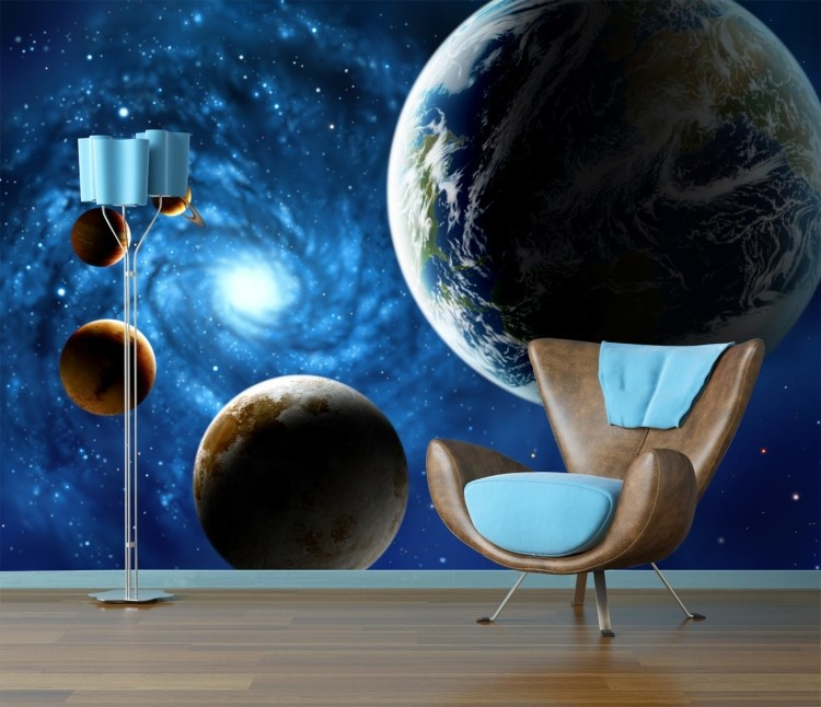 Seamless large sofa backdrop mural wallpaper star universe for Earth rising wall mural