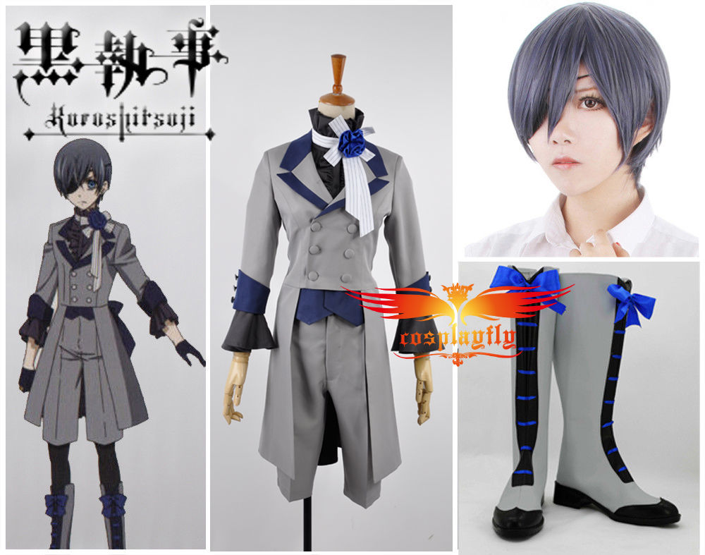 New Black Butler 3 Ciel Phantomhive Grey Suit Cosplay Costume Cloth Shoes Boots Wig and Free Wig Cap Full Set (W0567/J0132)