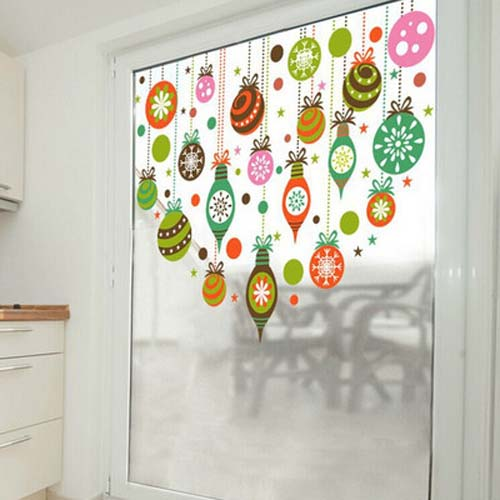 Christmas wall stickers colorful transparent glass film window sticker nursery decoration decal kids vinyl art mural